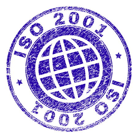 ISO 2001 stamp print with grunge texture. Blue vector rubber seal print of ISO 2001 label with retro texture. Seal has words arranged by circle and globe symbol.