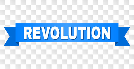 REVOLUTION text on a ribbon. Designed with white caption and blue tape. Vector banner with REVOLUTION tag on a transparent background.