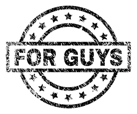 FOR GUYS stamp seal watermark with distress style. Designed with rectangle, circles and stars. Black vector rubber print of FOR GUYS caption with unclean texture.