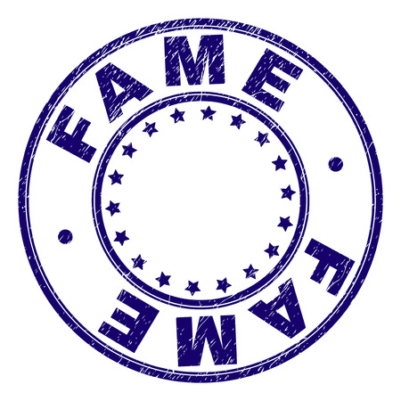 FAME stamp seal watermark with distress texture. Designed with round shapes and stars. Blue vector rubber print of FAME title with grunge texture. Illustration