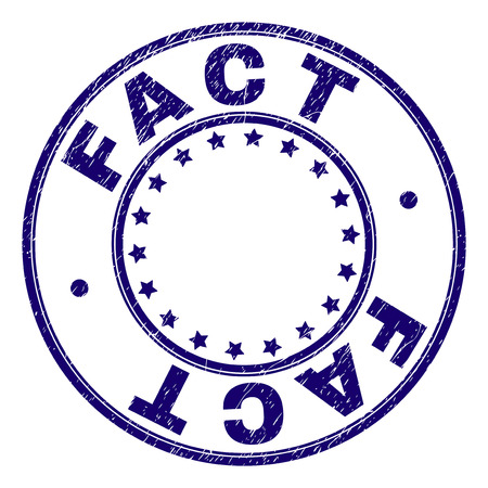 FACT stamp seal watermark with distress texture. Designed with circles and stars. Blue vector rubber print of FACT tag with dirty texture.
