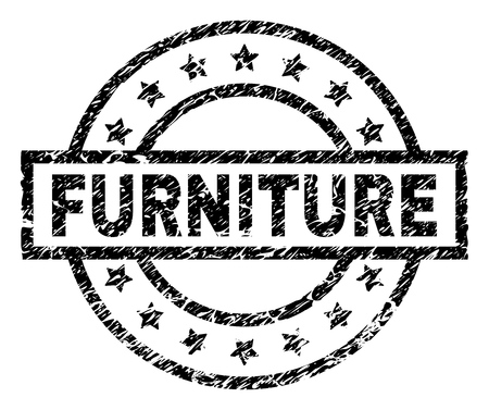 FURNITURE stamp seal watermark with distress style. Designed with rectangle, circles and stars. Black vector rubber print of FURNITURE caption with dirty texture. Illusztráció