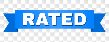 RATED text on a ribbon. Designed with white caption and blue tape. Vector banner with RATED tag on a transparent background.