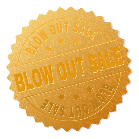 BLOW OUT SALE gold stamp reward. Vector gold medal with BLOW OUT SALE text. Text labels are placed between parallel lines and on circle. Golden surface has metallic structure. Illustration