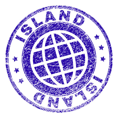 ISLAND stamp imprint with grunge texture. Blue vector rubber seal imprint of ISLAND tag with dirty texture. Seal has words arranged by circle and globe symbol.
