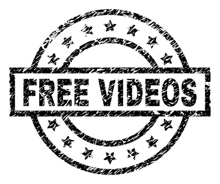 FREE VIDEOS stamp seal watermark with distress style. Designed with rectangle, circles and stars. Black vector rubber print of FREE VIDEOS title with retro texture.