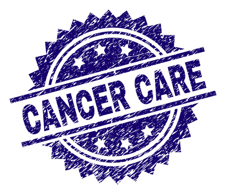 CANCER CARE stamp seal watermark with distress style. Blue vector rubber print of CANCER CARE label with corroded texture.