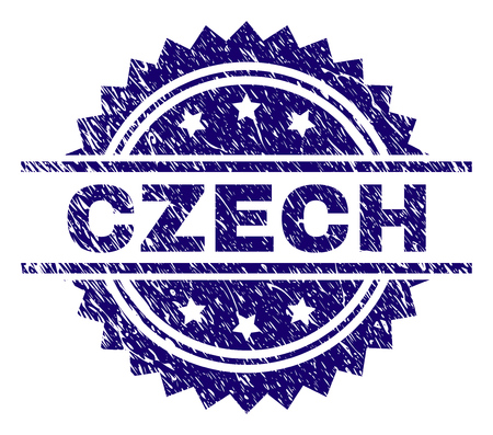 CZECH stamp seal watermark with distress style. Blue vector rubber print of CZECH tag with corroded texture.