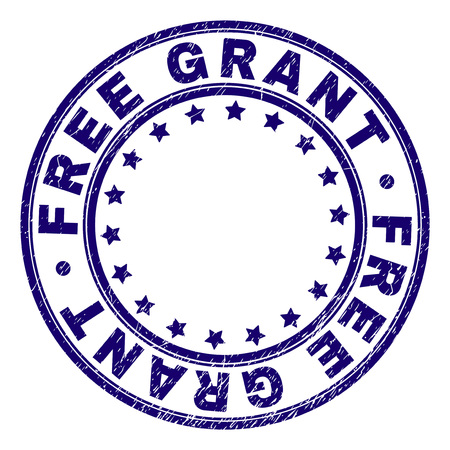 FREE GRANT stamp seal imprint with grunge texture. Designed with round shapes and stars. Blue vector rubber print of FREE GRANT text with grunge texture.