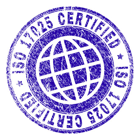 ISO 17025 CERTIFIED stamp imprint with grunge texture. Blue vector rubber seal imprint of ISO 17025 CERTIFIED tag with grunge texture. Seal has words arranged by circle and globe symbol. Illustration