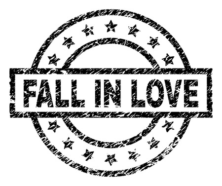 FALL IN LOVE stamp seal watermark with distress style. Designed with rectangle, circles and stars. Black vector rubber print of FALL IN LOVE title with retro texture.