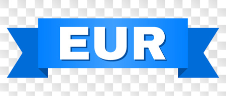 EUR text on a ribbon. Designed with white title and blue stripe. Vector banner with EUR tag on a transparent background.