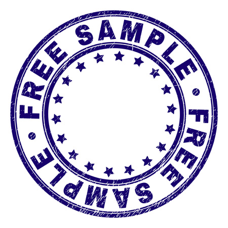 FREE SAMPLE stamp seal imprint with grunge style. Designed with round shapes and stars. Blue vector rubber print of FREE SAMPLE text with grunge texture.