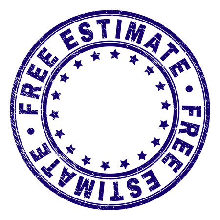 FREE ESTIMATE stamp seal watermark with grunge texture. Designed with round shapes and stars. Blue vector rubber print of FREE ESTIMATE label with dust texture. Illustration