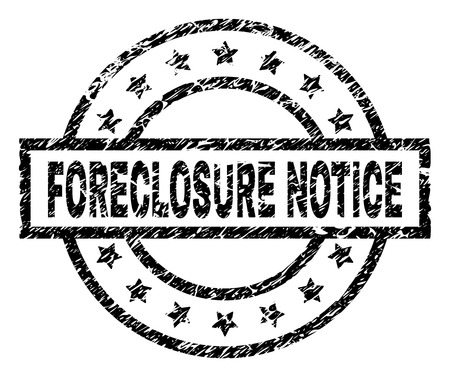 FORECLOSURE NOTICE stamp seal watermark with distress style. Designed with rectangle, circles and stars. Black vector rubber print of FORECLOSURE NOTICE text with retro texture.