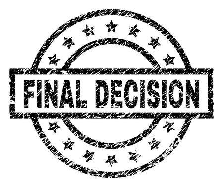 FINAL DECISION stamp seal watermark with distress style. Designed with rectangle, circles and stars. Black vector rubber print of FINAL DECISION label with scratched texture.