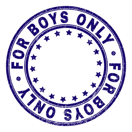 FOR BOYS ONLY stamp seal watermark with distress texture. Designed with round shapes and stars. Blue vector rubber print of FOR BOYS ONLY label with retro texture. Иллюстрация