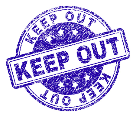 KEEP OUT stamp seal imprint with distress texture. Designed with rounded rectangles and circles. Blue vector rubber print of KEEP OUT caption with dust texture. Vector Illustration