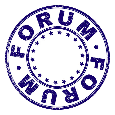 FORUM stamp seal imprint with grunge texture. Designed with round shapes and stars. Blue vector rubber print of FORUM title with corroded texture.