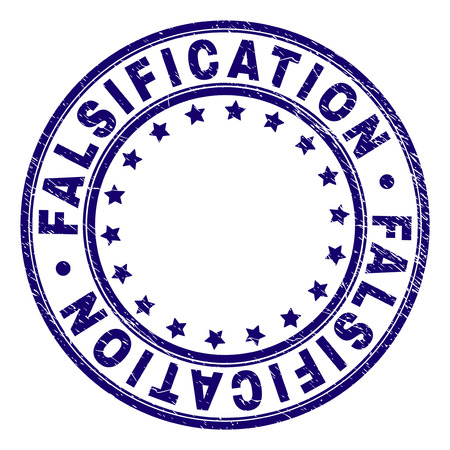 FALSIFICATION stamp seal imprint with grunge texture. Designed with round shapes and stars. Blue vector rubber print of FALSIFICATION caption with grunge texture.