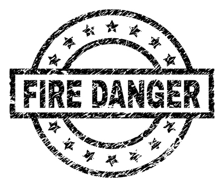 FIRE DANGER stamp seal watermark with distress style. Designed with rectangle, circles and stars. Black vector rubber print of FIRE DANGER title with dust texture.