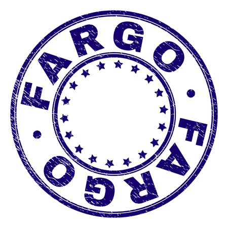 FARGO stamp seal imprint with grunge texture. Designed with circles and stars. Blue vector rubber print of FARGO title with dirty texture.