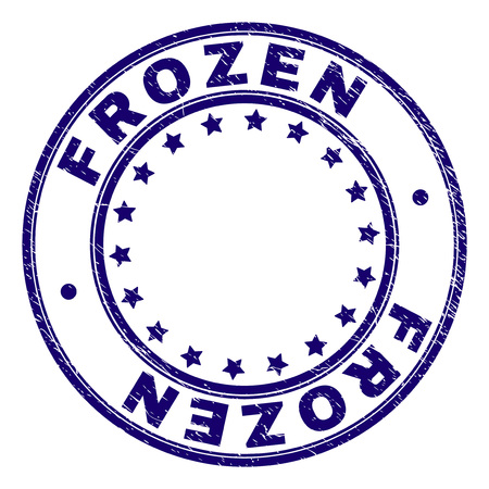 FROZEN stamp seal watermark with grunge effect. Designed with circles and stars. Blue vector rubber print of FROZEN title with grunge texture.