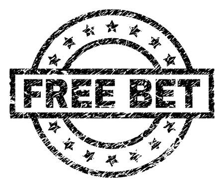 FREE BET stamp seal watermark with distress style. Designed with rectangle, circles and stars. Black vector rubber print of FREE BET text with scratched texture.