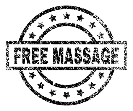 FREE MASSAGE stamp seal watermark with distress style. Designed with rectangle, circles and stars. Black vector rubber print of FREE MASSAGE label with grunge texture.