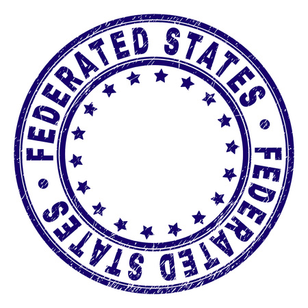 FEDERATED STATES stamp seal imprint with grunge texture. Designed with round shapes and stars. Blue vector rubber print of FEDERATED STATES title with grunge texture.