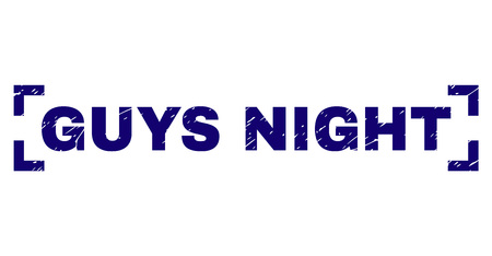 GUYS NIGHT label seal watermark with grunge texture. Text label is placed inside corners. Blue vector rubber print of GUYS NIGHT with dust texture. 일러스트