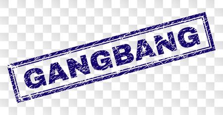 Impression de sceau de timbre GANGBANG avec style d'impression en caoutchouc et forme de rectangle à double cadre. Le timbre est placé sur un fond transparent. Impression en caoutchouc de vecteur bleu de l'étiquette GANGBANG avec une texture corrodée.
