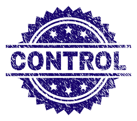 CONTROL stamp seal watermark with distress style. Blue vector rubber print of CONTROL caption with retro texture.