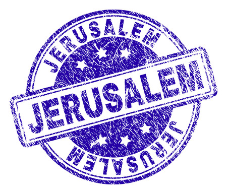 JERUSALEM stamp seal watermark with grunge effect. Designed with rounded rectangles and circles. Blue vector rubber print of JERUSALEM text with grunge texture.