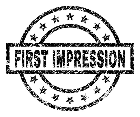 FIRST IMPRESSION stamp seal watermark with distress style. Designed with rectangle, circles and stars. Black vector rubber print of FIRST IMPRESSION title with dirty texture.