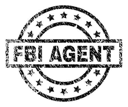 FBI AGENT stamp seal watermark with distress style. Designed with rectangle, circles and stars. Black vector rubber print of FBI AGENT title with scratched texture. Illustration