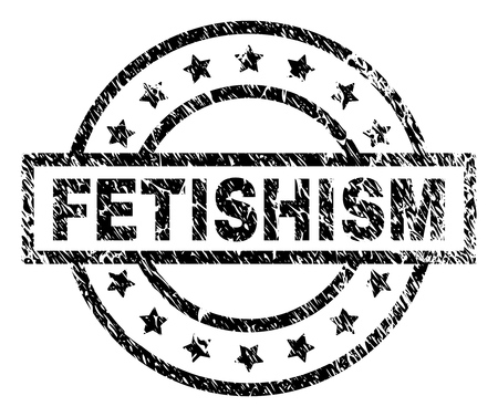FETISHISM stamp seal watermark with distress style. Designed with rectangle, circles and stars. Black vector rubber print of FETISHISM text with grunge texture. Illustration