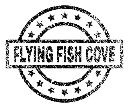 FLYING FISH COVE stamp seal watermark with distress style. Designed with rectangle, circles and stars. Black vector rubber print of FLYING FISH COVE title with scratched texture. Ilustrace