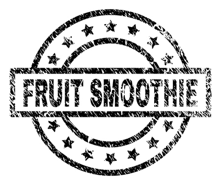 FRUIT SMOOTHIE stamp seal watermark with distress style. Designed with rectangle, circles and stars. Black vector rubber print of FRUIT SMOOTHIE tag with scratched texture.