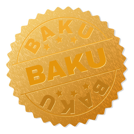 BAKU gold stamp badge. Vector golden medal with BAKU text. Text labels are placed between parallel lines and on circle. Golden skin has metallic effect.