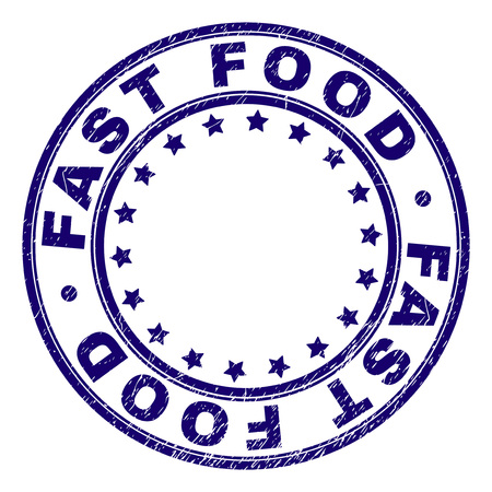 FAST FOOD stamp seal watermark with grunge texture. Designed with circles and stars. Blue vector rubber print of FAST FOOD title with grunge texture. Illustration