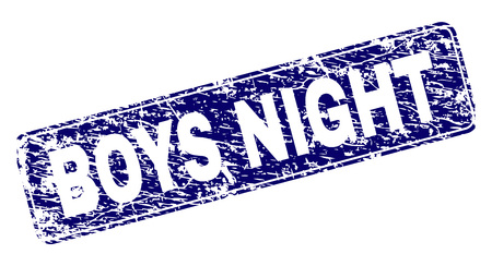 BOYS NIGHT stamp seal imprint with distress style. Seal shape is a rounded rectangle with frame. Blue vector rubber print of BOYS NIGHT title with dirty style. Stok Fotoğraf