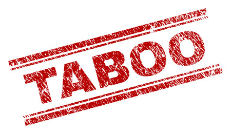 TABOO seal print with distress texture. Red vector rubber print of TABOO caption with unclean texture. Text tag is placed between double parallel lines.