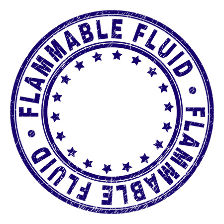FLAMMABLE FLUID stamp seal watermark with distress texture. Designed with circles and stars. Blue vector rubber print of FLAMMABLE FLUID title with dirty texture. Illustration