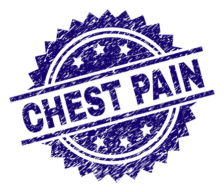 CHEST PAIN stamp seal watermark with distress style. Blue vector rubber print of CHEST PAIN caption with grunge texture.