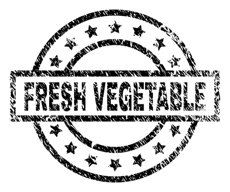 FRESH VEGETABLE stamp seal watermark with distress style. Designed with rectangle, circles and stars. Black vector rubber print of FRESH VEGETABLE caption with unclean texture.
