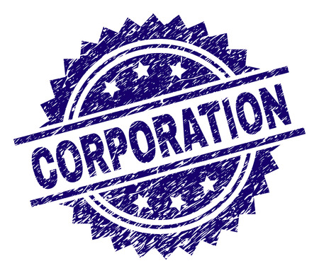 CORPORATION stamp seal watermark with distress style. Blue vector rubber print of CORPORATION title with corroded texture.