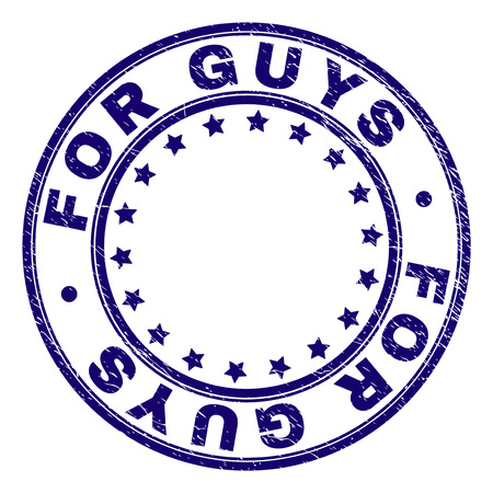 FOR GUYS stamp seal watermark with grunge texture. Designed with circles and stars. Blue vector rubber print of FOR GUYS text with scratched texture.