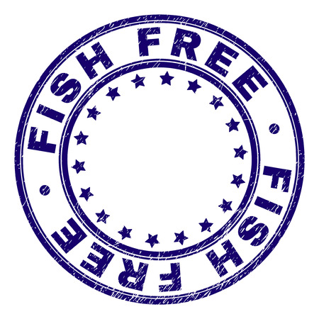 FISH FREE stamp seal watermark with distress texture. Designed with round shapes and stars. Blue vector rubber print of FISH FREE text with unclean texture.