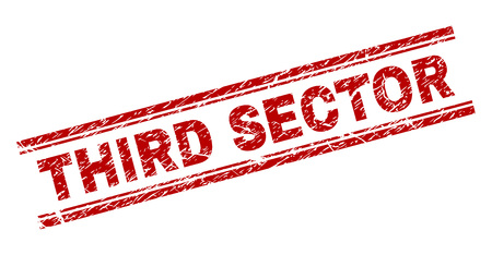 THIRD SECTOR seal imprint with corroded texture. Red vector rubber print of THIRD SECTOR caption with scratched texture. Text label is placed between double parallel lines.
